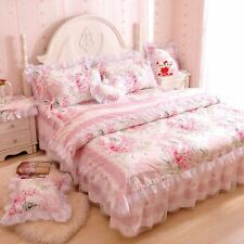 FADFAY,Romantic Flower Print Bedding Set,Floral Bed Set,Princess Lace Ruffle Duv