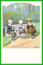Pauli Ebner Art Post Card - 3 Children in a Bench - Uncirculated - Serie 1270