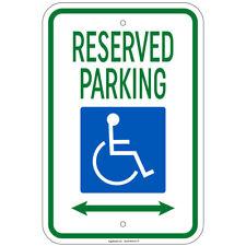 "Reserved Parking w/Handicap Symbol & Arrow Left & Right Sign 8""x12"" Alum"