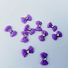 NEW Pack of 10x Purple 3D Nail Art Bows with Diamonte (10 Pack) UK SELLER