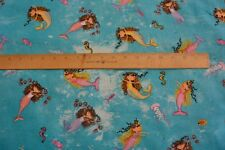 Ocean Mermaids Fish Seahorse Octopus Toss Cotton Flannel Fabric BTY