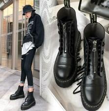 Womens Retro Front Zip Flat Chunky Goth Punk Platform Ankle Biker Boots Shoes