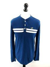 HOLLISTER Mens Long Sleeve T-Shirt Top M Medium Blue Cotton Polyester 1/4 Button