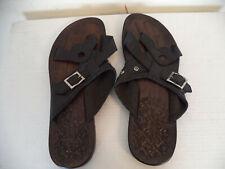 Men's Black Handmade Nesinco Slippers Sandals. Genuine Leather. Side Buckles.