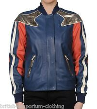 ROBERTO JUST CAVALLI Blue Lamb Leather Jacket Made In Italy IT40  UK8 BNWT