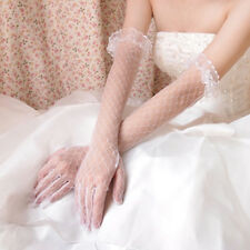 Ivory Lace Net Soft Tulle Long Wedding Bridal Bride Elbow Finger Gloves Pair