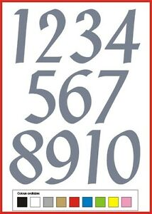 SELF ADHESIVE NUMBERS stickers graphics 1-10 Penstyle 70 OR 80mm vinyl set