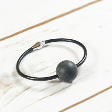 Genuine Baltic Amber Bracelet Unique Earth Green Ball Black Leather Magnetic