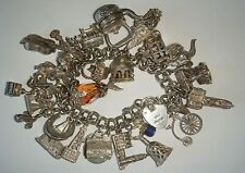 FABULOUS HEAVY VINTAGE STERLING SILVER CHARM BRACELET X 30 CHARMS  - 115g