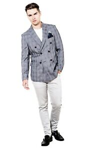 Mens Blazer Jacket Double Breasted Designer Slim Fit Grey Prince of Wales Check
