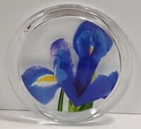 Yankee Candle Full Bloom Blue Iris Floral Flower Glass Candle Plate Tray New !