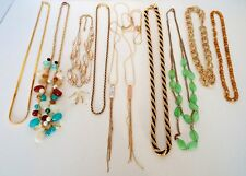 JEWELRY LOT Necklaces Earrings Gold Tone Strands 9 - 21 Inches 12 Pc Estate Lot
