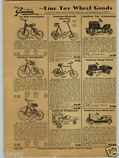 1931 PAPER AD Toy Pedal Car Gendron Veloplane Yellow Jacket Dump Truck Fire