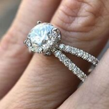 Engagement Wedding Ring In 925 Silver Certified 2.20 Ct Round Cut Moissanite
