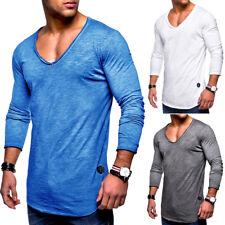 0ea3a903ea21 Herren Oversize Longsleeve T-Shirt Sweatshirt Longline Pullover  Schwarz Weiß NEU