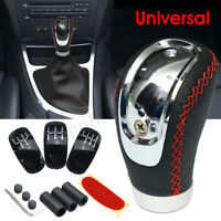 Universal Leather Manual Car Gear Stick Shift Knob Shifter + 5/6 Speed 3 Caps