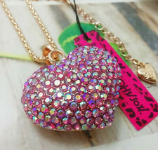 Betsey Johnson Crystal Heart Gold Pendant Chain Necklace Free Gift Bag