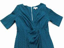 Per Una Teal Peacock Blue Crimped V neck Ruched Tummy Control shape Midi Dress