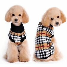 Small Toy Dog Clothes Pet Winter Plaid Sweater Puppy Clothing Warm Apparel Coat