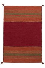 Tapis tissé à la main 100% coton Tapis poil ras rayures rouge 200x290 cm