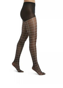 Hue Women's Windowpane Sheers with Control Top Pantyhose Size 1 Black New NWT