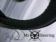 FOR AUSTIN 16 BS1 PERFORATED LEATHER STEERING WHEEL COVER 45-49 GREEN DOUBLE STT