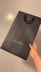 Auth  GUCCI Logo Black White Empty Shopping Paper Bag Tote 15x9x5