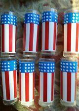 Vintage Bartlett Collins Old Glory Glasses TUMBLER SET 8 RED WHITE BLUE FLAG