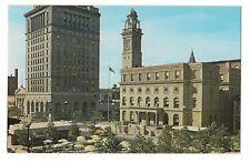 NORTH PLAZA Terrace Umbrella Tables Courthouse Bank CANTON Ohio Postcard OH