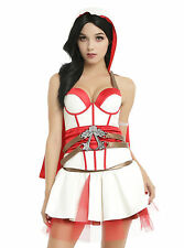 Assassin's Creed Bustier with Hood & Cape white faux leather bodice Red detail