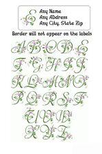 30 Return Address Labels Alphabet Monogram Floral Buy 3 get 1 free (F10)