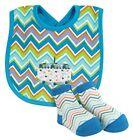 Stephan Baby Boy Chevron Striped Blue Birthday Cake Bib  Sock Set 616254