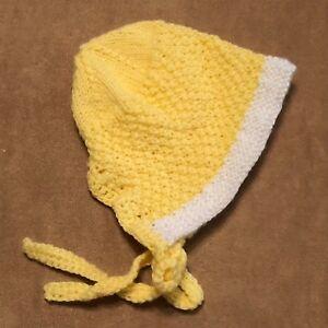 Cap Handmade Baby Crochet knit baby yellow white bonnet reborn doll 6-12 mo hat
