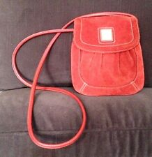 TIGNANELLO Rust Brick Suede Stitch Detail Small Crossbody Handbag
