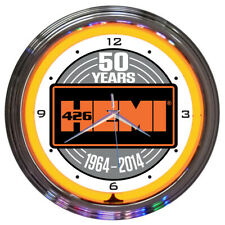 Neon Clock sign Hemi 50th Anniversary 426 Elephant 1964 2014 Mopar Lamp Light