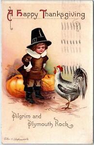 HAPPY THANKSGIVING  1914   Postcard Signed CLAPSADDLE Pilgrim Child Pumpkins