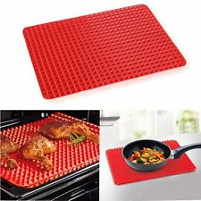 Non Stick Pyramid Pan Silicone Baking Oven Tray Sheet Fat Reducing Mat 40x29 cm