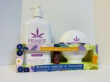 HEMPZ BLUEBERRY LAVENDER & CHAMOMILE HERBAL BODY MOISTURIZER, SILK, & LIP BALM