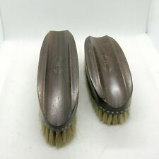 2 Vintage Royal Natural Ebony Wood Clothes Brushes with H Monogram (Sb)