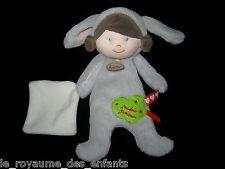 Doudou D'amour Poupée Fille déguisée Lapin gris carré blanc Babynat' Baby Nat'