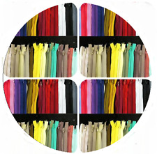 "Closed End Nylon Zips 7 "" & 8 ""  Wholesale Packets of 10 ZIPS"