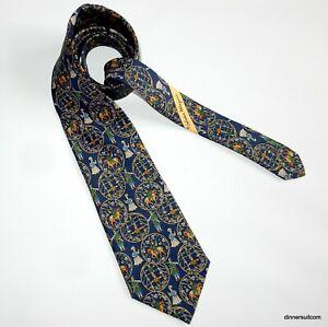 Salvatore Ferragamo Blue Silk Tie Necktie Hunter on horseback Flowers 9cm SUPERB