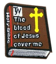 holy bible the blood of jesus cover me Cross Embroidered Iron On Patch 488
