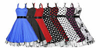Ladies 40s 50s Vintage Style Halterneck Plus Size Swing Prom Dress New 18 to 26