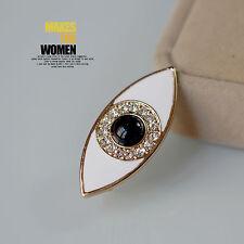 Broche Dorado Ojo Esmalte Blanco Perla Negro Antiguo Estilo Retro XZ4