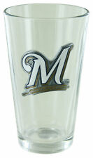 Milwaukee Brewers 16oz Pint Glass w/ Metal Emblem