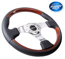 NRG 350MM 6-HOLES BOLTS STEERING WHEEL LEATHER COVER WOOD GRIP CHROME 3 SPOKES