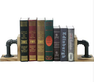 Bookends - Industrial Pipe Book Ends, Pope & Wood, Rustic Vintage Decor - 1 Pair