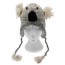 Fun Grigio Koala Fatto a Mano Inverno Lana Animale Cappello Fodera in Pile Taglia unica, unisex