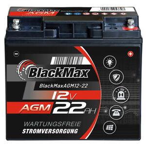 BlackMax AGM 12V 22Ah Bleigel USV Solar Alarmanlage ersetzt 17Ah 18Ah 20Ah 21Ah